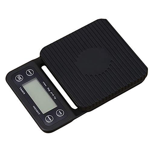 DuDuDu Balance électronique portative avec minuteur LCD numérique café balances de Cuisine pesant Outil Precision Jewelry, échelle 3kg/0,1 g
