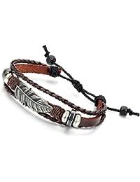 Flongo Joyería Pulseras hombre mujer etnicas multicapas, Pluma tribus indias brazalete de verano, diseño sencillo atractivo, Ajustable pulseras de cuero marrón