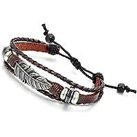 Flongo Gioielli Bracciali uomo donna multistrati etnici, Pen tribù indiane estate braccialetto, design semplice attraente, Bracciali in pelle regolabili marrone