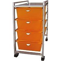 Laroom Carrito Ancho 4 cajones, Chrome Acero Inoxidable Structure y PP Drawers, Naranja