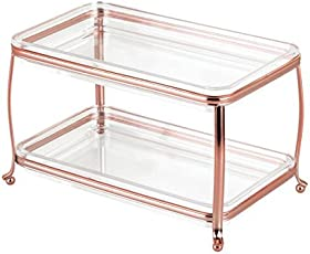 InterDesign York Lyra Double Vanity Cosmetics and Make up Organizer Tray, Rose Gold