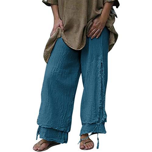 WOZOW Weites Bein Palazzo Hosen Damen Bettwäsche Baumwolle Solid Einfarbig Patchwork Zerrissene Destroyed Ripped Loose Lose Lang Anzughose Long Casual High Waist Pyjama Trousers Stoffhose