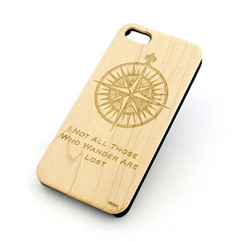 GENUINE WOOD Organic Snap On Case Cover for APPLE IPHONE 5 / 5S - NOT ALL THOSE WHO WANDER ARE LOST / COMPASS inspirational quote boat anchor sea