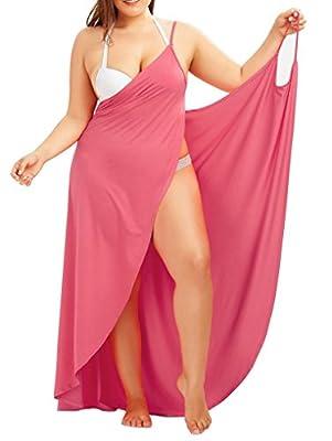 SAYFUT Wrap Maxi Dress for Women Wrap Dress Beach Wrap Long Dress Bikini Cover Up Backless Beach Sleeveless Nylon Dress Summer L-5XL