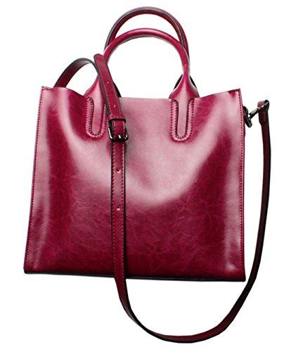 SAIERLONG Nuovo Donna Marrone Vera Pelle Borse Tracolle Purple Rose