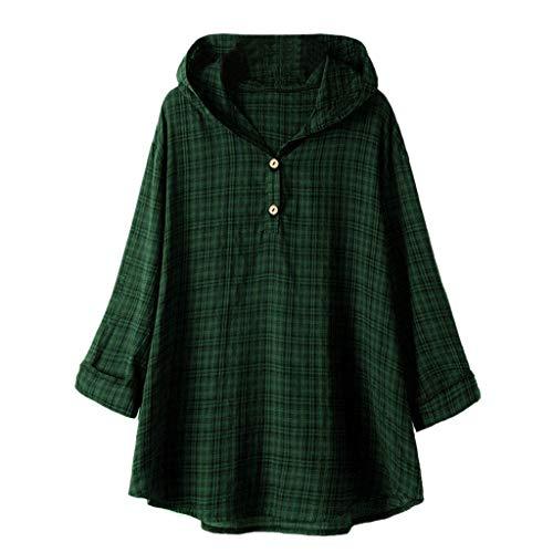 QIMANZI Übergröße Damen Lange Ärmel Kaftan Ausgebeult Taste Bettwäsche aus BaumwolleTunika Bluse(Zy Grün,XL)