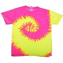 Tie-Dye - Camiseta psicodélica de manga corta Modelo Spiral Unisex Niños Niñas - Moda/Tendencia/ Hippie (Grande (L)/Fluorescente)