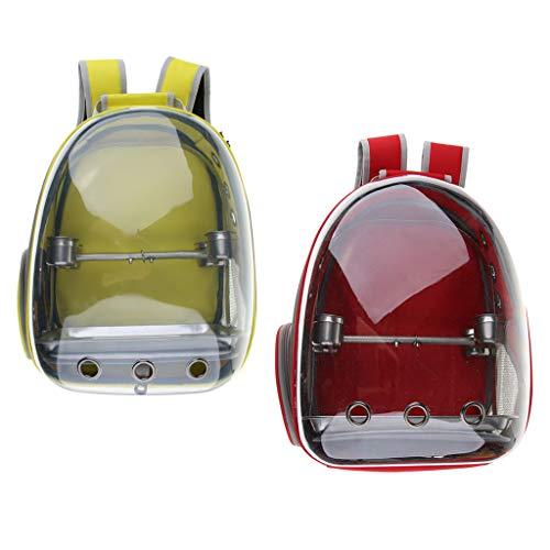 non-brand Sharplace 2 Pezzi Uccello Trasportino Zaino da Trasporto con Pesce Persico E Ciotola Metallo - Rosso + Giallo