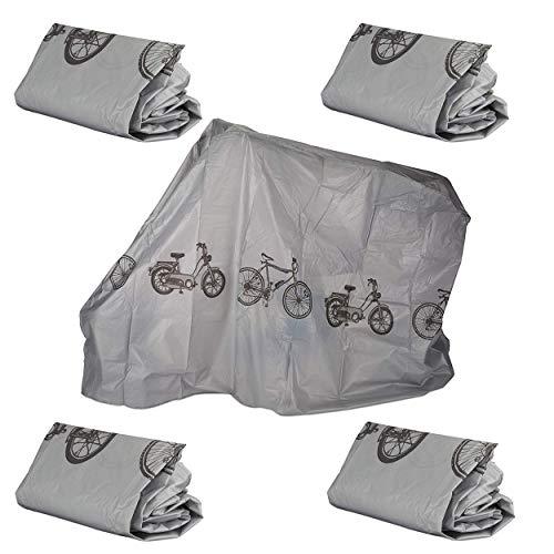 Oramics Fahrradgarage aus Polyethylen - 200 x 110 cm - reißfeste Schutzhülle für Ihr Fahrrad, robuste Abdeckung in Silbergrau (4 Stück)