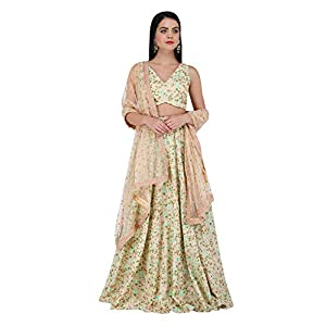 Amaira V -Neck Beige Hand and Machine Embroidered Lehenga Set