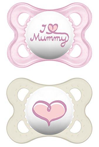 Preisvergleich Produktbild MAM 66735022 - Original Silikon I love mummy girl 0-6, Doppelpack