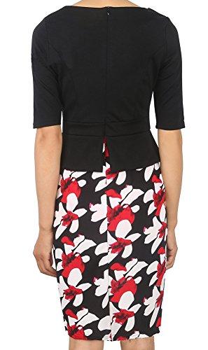 Minetom Femme été Élégante Bodycon Stretch Slim Floral Au genou Bureau Affaires Crayon Peplum Cocktail Robe Longueur du Genou Noir02