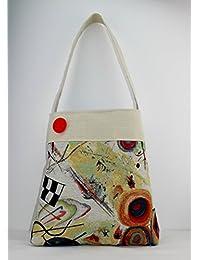 Borsa a spalla in Gobelin Kandinskij, beige, borsa tote, BOTTONE ROSSO