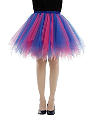 Bbonlinedress Women's Short 1950s Vintage Tutu Petticoat Ballet Bubble Skirt