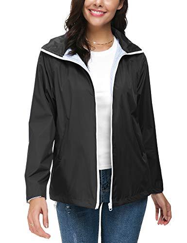 ZHENWEI Regenjacke Damen Wasserdicht Outdoorjacke Regenmantel Schwarz Softshelljacken Walk Kapuzenjacke Streetwear - 5