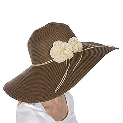 Sakkas - Cappello da Donna a Tesa Larga e floscia 100% Carta Paglia con Protezione UPF 50+ e Note Floreali-Marrone-OS
