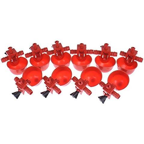 Wynce (TM) 10 Pezzi / Lotto Rosso plastica automatico di pollo Feeder Abbeveratoi da pollame anatra, oca, faraona Fagiano Pigeon Quail Turchia