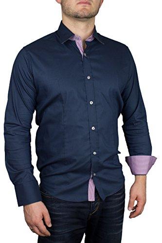 Herren Langarm Hemd Business Anzug Freizeit Hochzeit Basic Standard Slim Fit 2-Blau