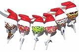Yalulu 50 Stück Mini Weihnachtsmann Mützen Weihnachten Weihnachtsbaum Lutscher Hut Party Lollipop Christmas Xmas Party Dekoration