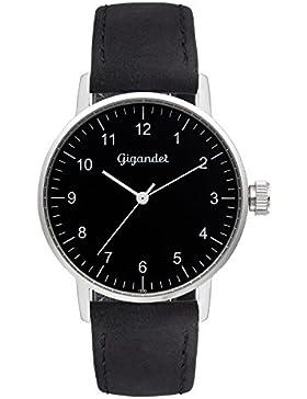 Gigandet Quarz Damen-Armbanduhr Minimalism Uhr Analog Lederarmband Silber Schwarz G27-003