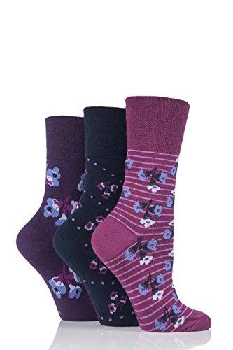 Ladies 3 Pair Gentle Grip Poppy Floral Cotton Socks