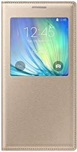 MVE(TM) S View Flip Covers Samsung Galaxy J5 (2016) Flip Covers Golden Color Light Weight Properly Stitched Leather Flip Covers