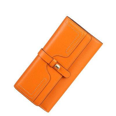 bxmb Portafogli Portamonete Lungo Femminile Borsa Portamonete di cuoio molteplici carte di Afternoon marea di moda borsa a mano, Orange (arancione) Orange (arancione)