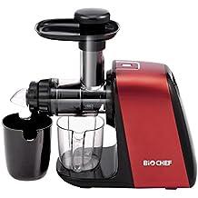 Extractor de zumos BioChef Axis Compact Cold Press Juicer – Licuadora en frío con Regulador de pulpa y BPA Free. 10 Años de Garantía. (Rojo)