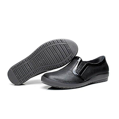 LvRao Männer & Frauen Niedrige Knöchel Booties Wasserdichte Regen Schuhe Wellies Flache Ferse Kurz Stiefel Schwarz Ohne Pelz