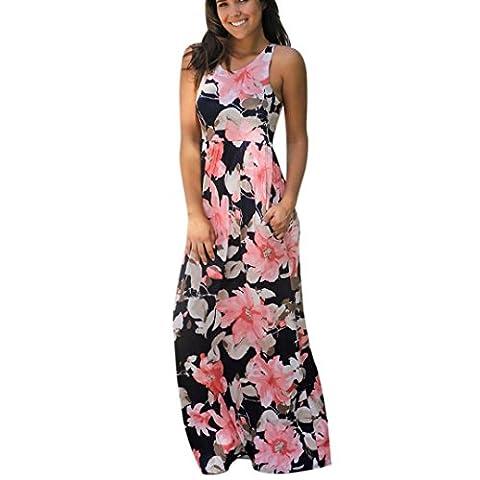 DAYLIN Women Sleeveless Floral Print Maxi Dress with Pockets