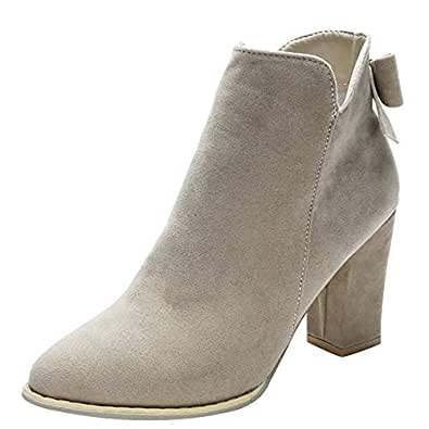 46c9fc374d13 DAYSEVENTH Women Flcok Ponited Toe Bow Boots Ankle Boots High Heels Zipper  Martin Shoes(3