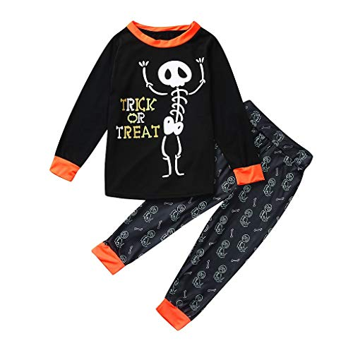 Säuglings Kostüm Eltern - Markthym Halloween Kinder Kinder Brief drucken Top + Hosen Familie Kleidung Pyjamas Set Halloween Eltern-Kind Kinder Langarm Brief Skelett Print T-Shirt Top + Hosenanzug Trick oder