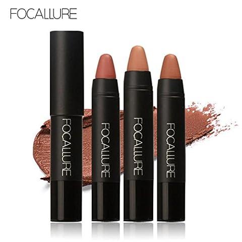 Tefamore FOCALLURE Mat à velours rouge durable Crayon de couleur crayon à lèvres ensemble de maquillage crayon (B)