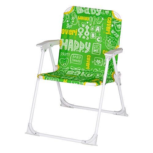 Enrico coveri sedia pieghevole colorata per bambini, perfetta per arredare la loro cameretta o da usare in giardino, mare e campeggio (verde)