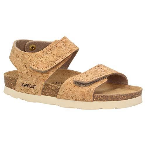 Zweigut® -Hamburg- luftig #502 Kinder Klett-Sandale Mädchen Sommer Schuh mit weichem Leder-Komfort-Fußbett, Schuhgröße:32, Farbe:Kork -