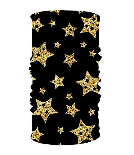 Rghkjlp Black and Gold Stars 16-in-1 Magic Scarf,Face Mask,Balaclava Bandana for Outdoor Sports New16