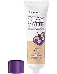 Rimmel London Stay Matte Foundation, 100 Ivory, 30 ml