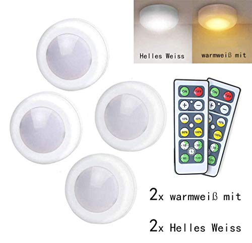 Schrankleuchten LED Nachtlicht mit Fernbedienung, 4er Licht Dimmbar Batteriebetrieben Kabinett Beleuchtung, Lichter für Schränke, Kleiderschrank, Küche, Schlafzimmer, Treppe, Gang Energieeffizient