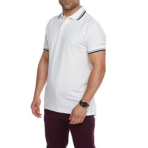 Charles Wilson Kontrastkragen Polohemd (Large, Weiß)