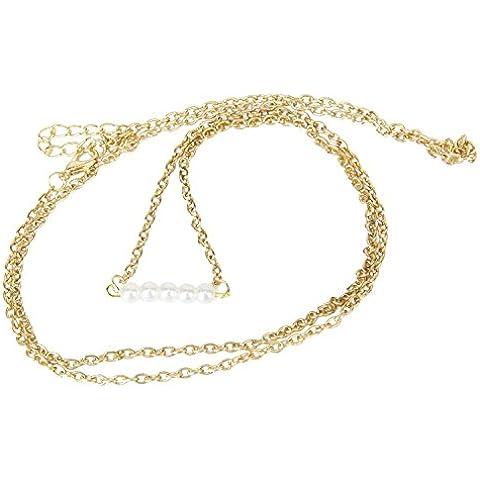 Beautiful Bead Golden Faux Pearl Charm Bikini Belly Waist Lower Back Link Body Chain--33.9 inch by Beautiful Bead