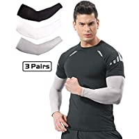 Arm Sleeves for Men Women 3 Pairs/ 5 Pairs UV Protection Sun Sleeves To Cover Arms Cycling Driving Golf Running (3 Pairs (Black+White+Gray))