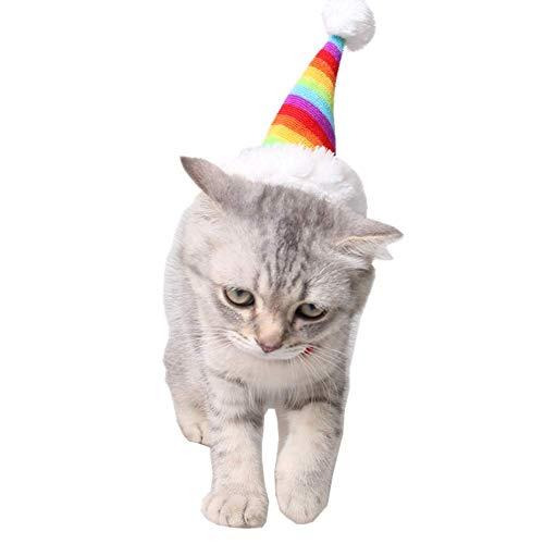Fliyeong Premium Qualität kleine Haustier Urlaub und Weihnachten Regenbogen Hut Welpen Hund Santa Mütze Kostüm Weihnachten Kollektion Pet Zubehör für Katzen, Kaninchen, Hamster, Meerschweinchen