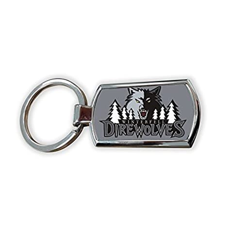 Game Of Thrones Fantasy GOT Series TV Usa Show Keyring Metal charm pendant key ring keychain bag tag fob - winterfell dire wolves logo wolf