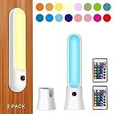 HONWELL Schrankleuchten led Wandleuchte kabellos RGB LED mit Fernbedienung Bar Lichter LED batteriebetrieben Wandleuchten mit Dimmer und Automatikmodi(2PACK)
