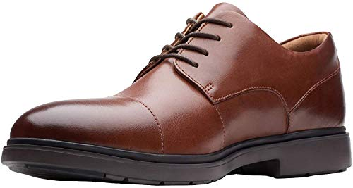 CLARKS Men's Un Tailor Cap Oxford, Tan Leather, 11.5