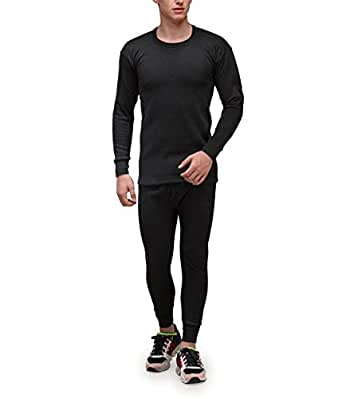 Alfa Lava Men's Cotton Premium Thermal Wear Set ( Round Neck Full Sleeves Top + Trouser ) Assorted Color + 1 Pair Socks Free