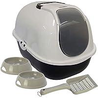 Gato con tapa basura bandeja + 2cuencos + cuchara caja con capucha Filtro de Toilet bowl