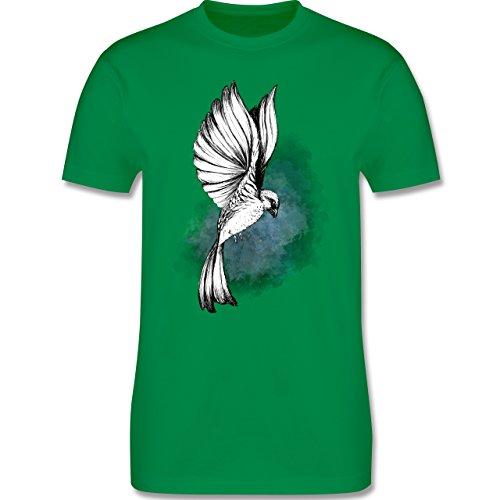 Vögel - Vogel Aquarelle Zeichnung - Herren Premium T-Shirt Grün