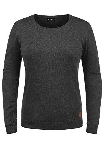 DESIRES Edda Damen Strickpullover Feinstrick Pullover Mit Rundhals, Größe:S, Farbe:Dark Grey Melange (8288)