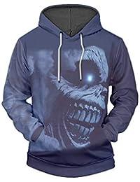 c09b9d4d3b6183 YZFZYLW 3D Impression Terroriste Tête De Mort Motif Loisirs Sweat À Capuche  Unisexe Mode Hiver Couple